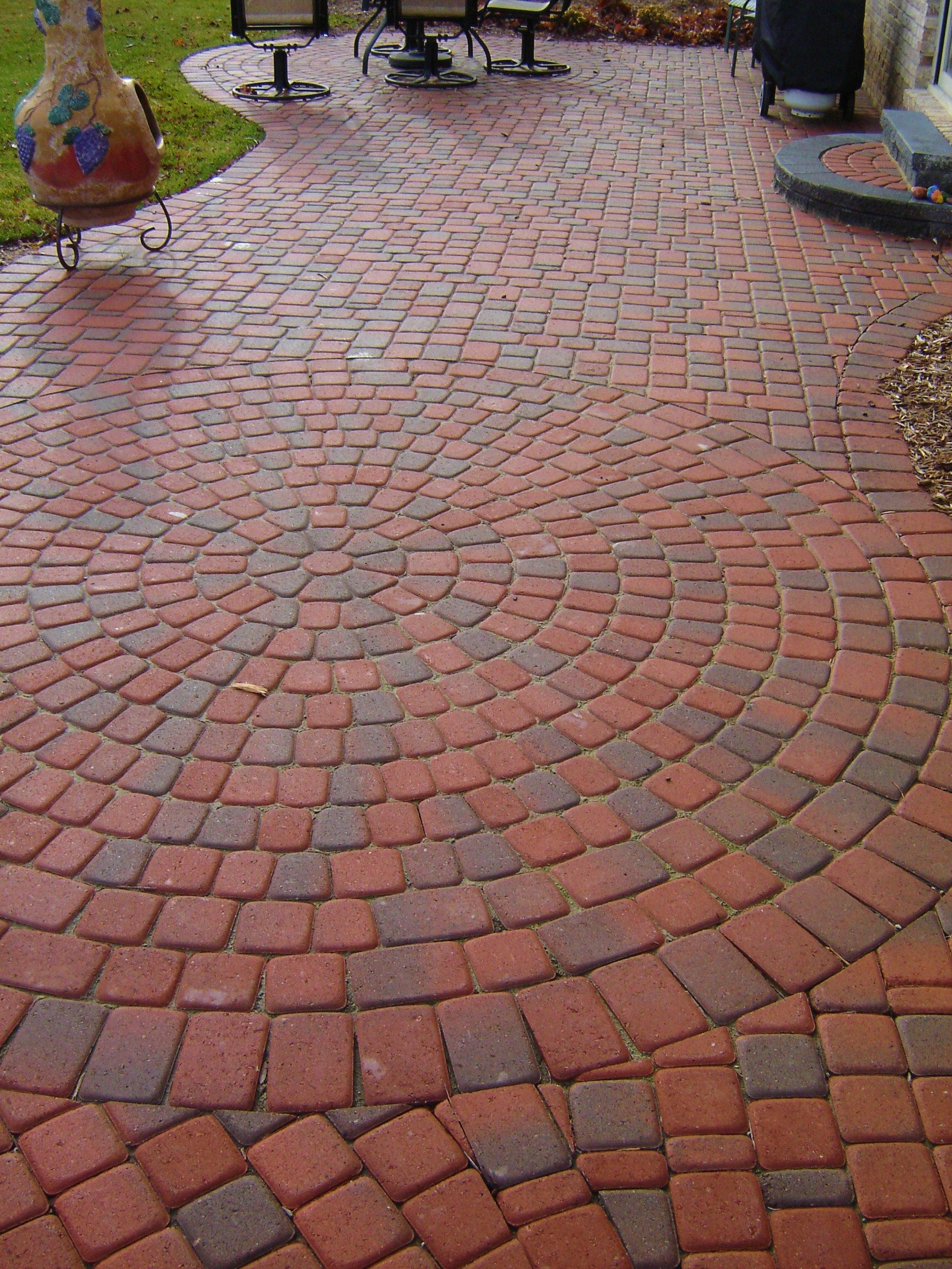Old Greenwich Cobble brick paver circle patio and steps in ... on Red Paver Patio Ideas id=84637