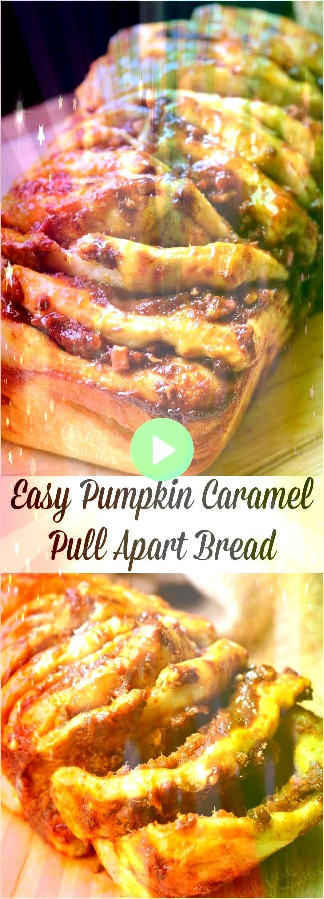 Caramel Pumpkin Pull Apart Bread Quick and easy pull apart bread where each layer is slathered in a sweet combination of pumpkin caramel and pecansEasy Caramel Pumpkin Pu...