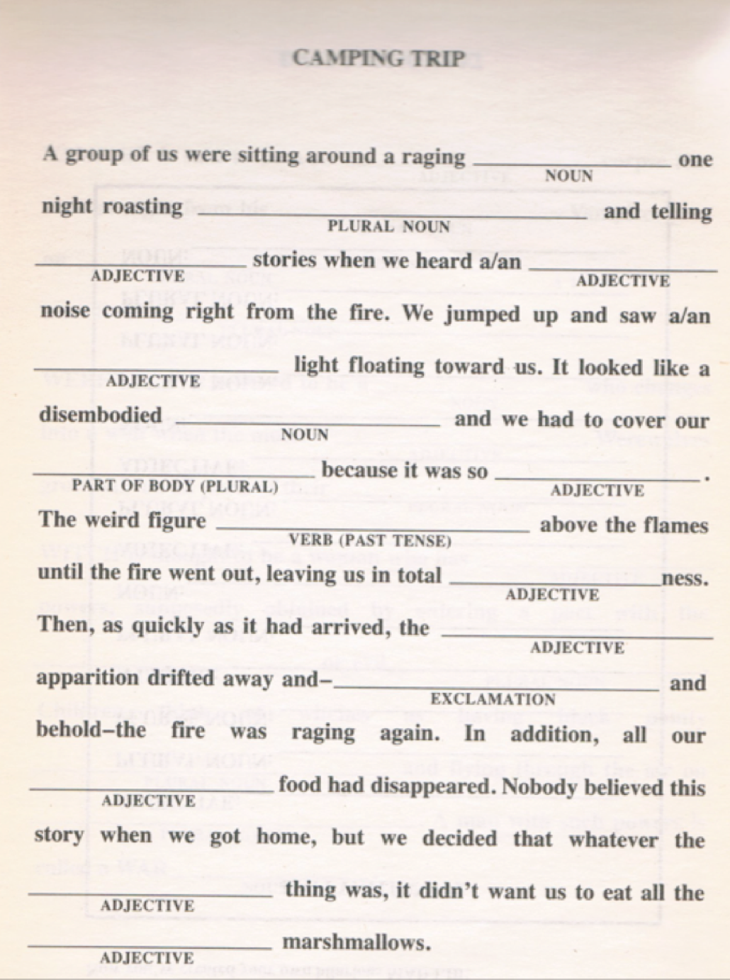 Another Mad Lib Activity For English Class