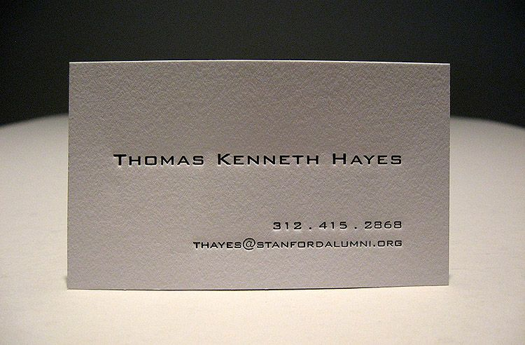 Minimalistic Letterpress Business Card - Thomas Kenneth Hayes - letterpress business card