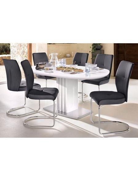 Esstisch mit Auszugsfunktion und ovaler Tischplatte, Breite 160 cm - küchentische und stühle
