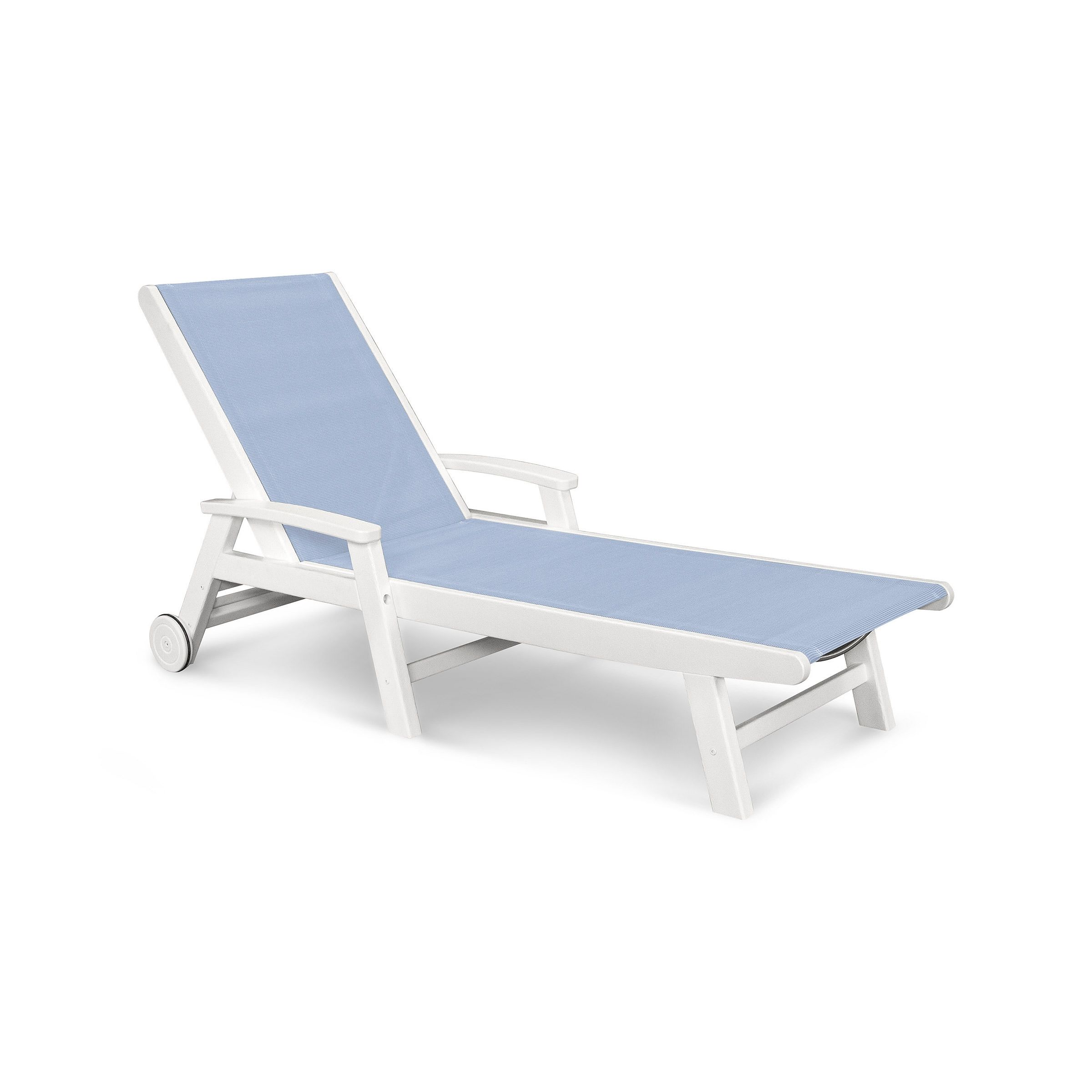 The POLYWOOD Coastal Wheeled Chaise Lounge is the perfect marriage