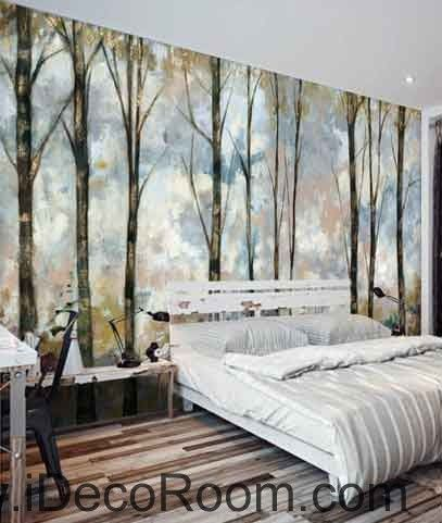 vintage forest oil painting wallpaper wall decals wall art print mural home decor gift office. Black Bedroom Furniture Sets. Home Design Ideas