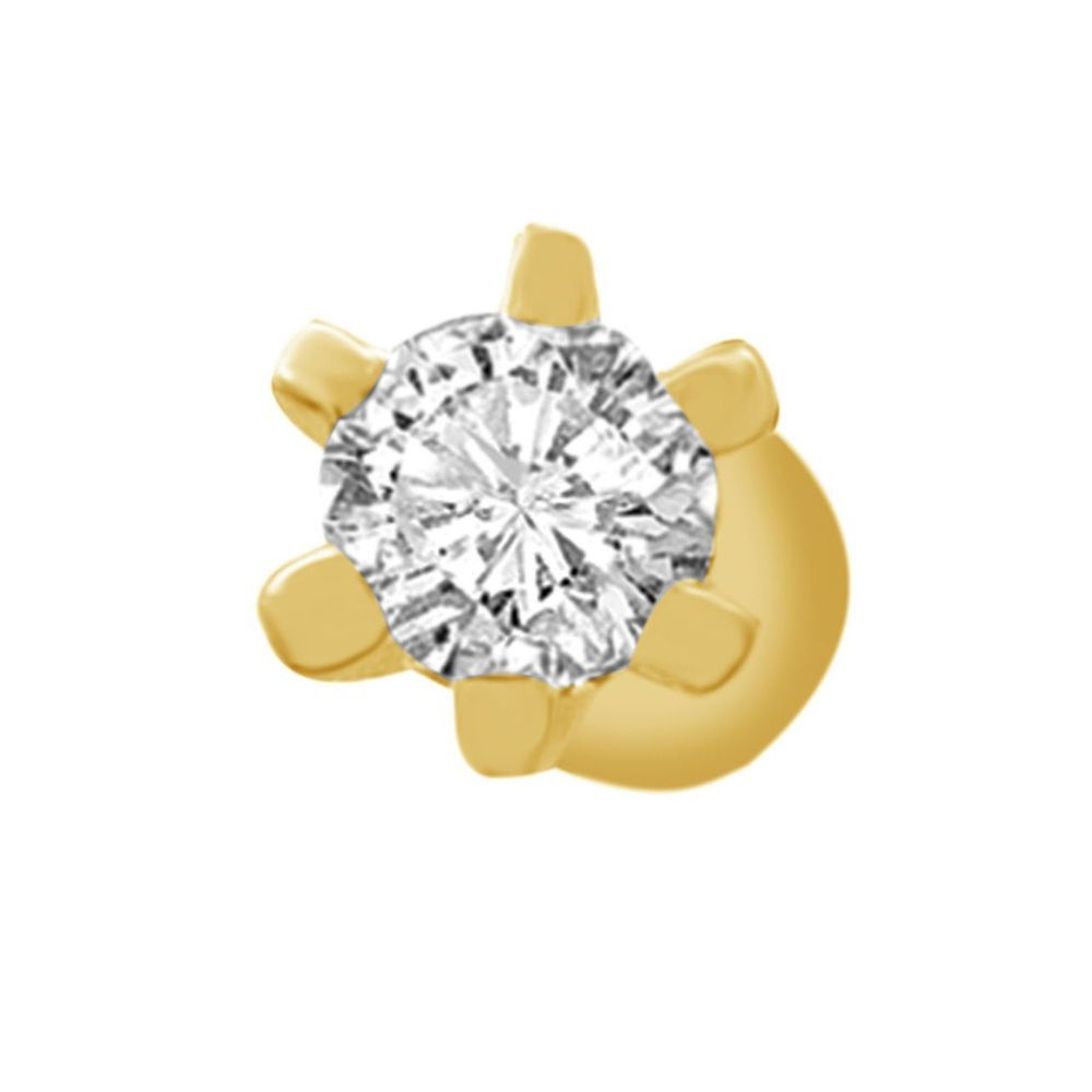 Christmas Solitaire Single Stone Stud Nose Pin 14K Yellow