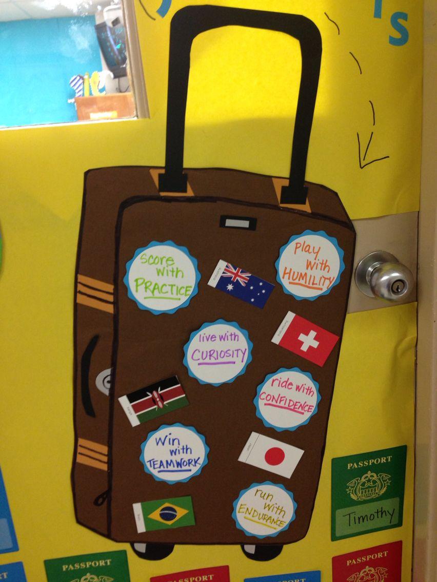 Boosterthon Big World Recess Door Decor Suitcase Flags