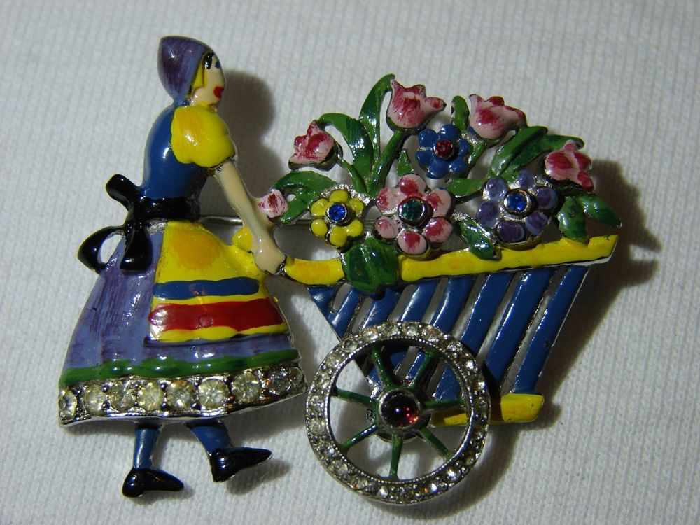Vintage Early Coro. Dutch Girl with flowers Pin #Coro