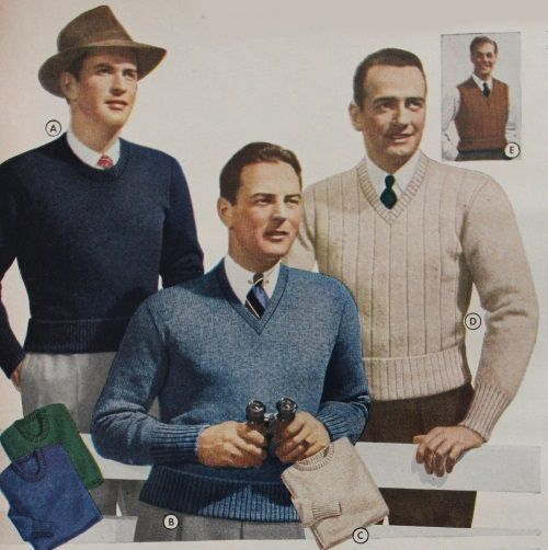 Homefront 9a 1940/'s WWII Vintage Mens Knitting Pattern for a Men/'s Pullover