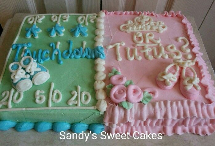 Simple And Easy Gender Reveal Party Cake 1 4 Sheet Vanilla Cake