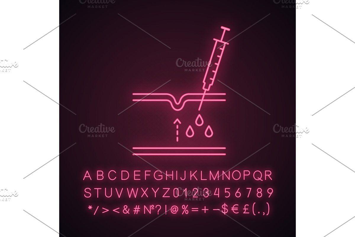 Neurotoxin injection neon light icon Light icon, Neon