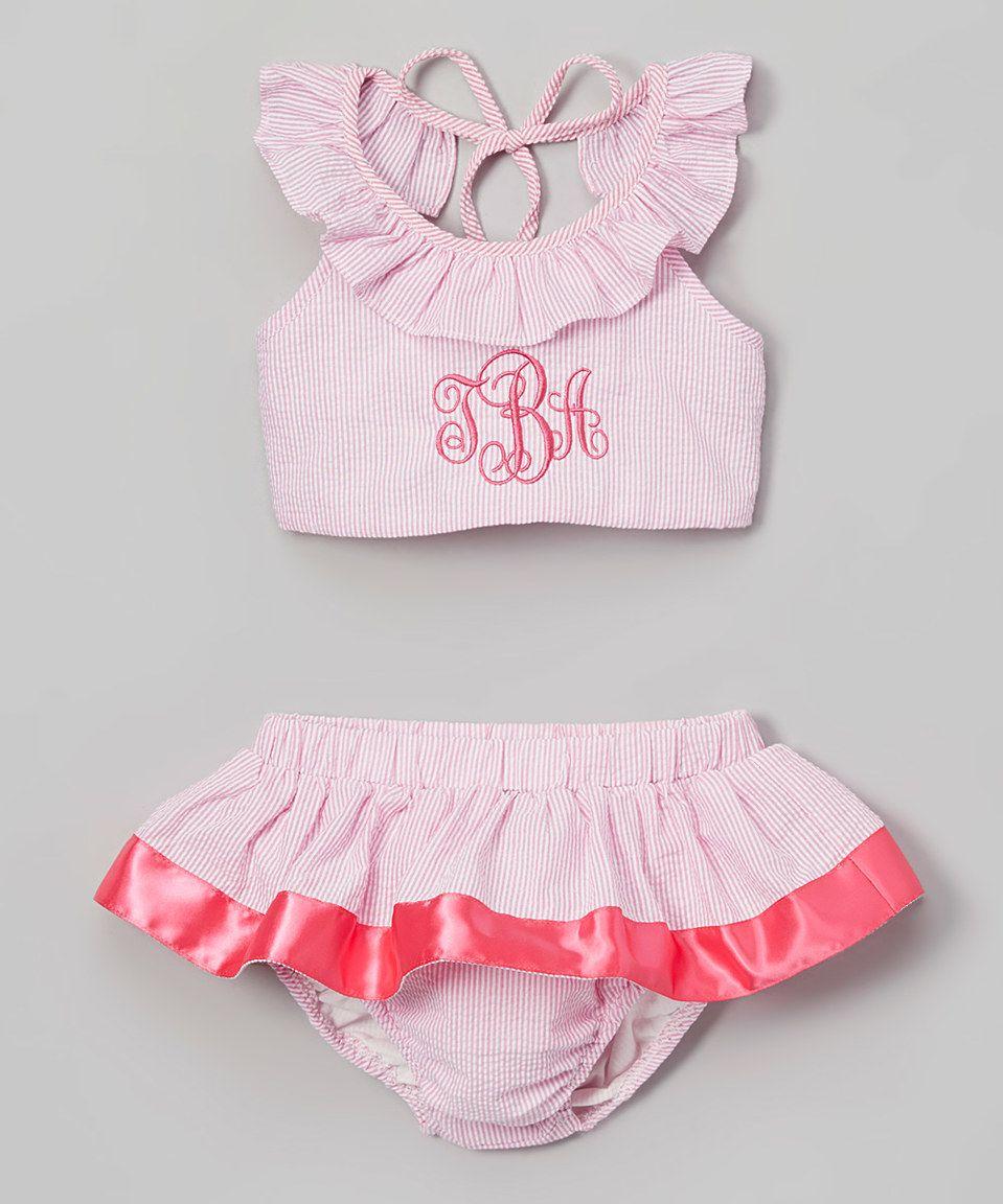 Loving this Pink Seersucker Monogram Halter Bikini - Infant, Toddler & Girls on #zulily! #zulilyfinds