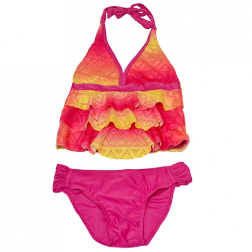 10fa344f23617 2B Real Big Girls Fuchsia Yellow Geometric Ruffle 2 Pc Tankini Swimsuit  7-16 - Sophia s Style