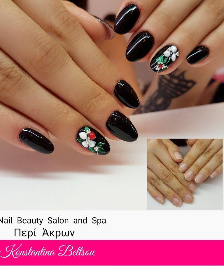 Gel nails, almond shape nails, black nails, nail art, gel painting ...
