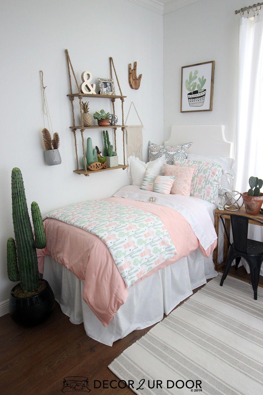 Peach Green Cactus Dorm Bedding Set Dorm Bedding Sets Designer Dorm Bedding Dorm Bedding