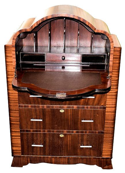 1930s art deco mahogany cloud bureau