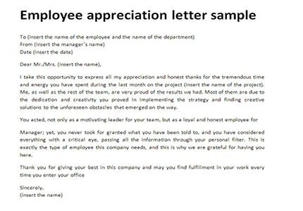 documents download word appreciation letter employee sample - employee letter