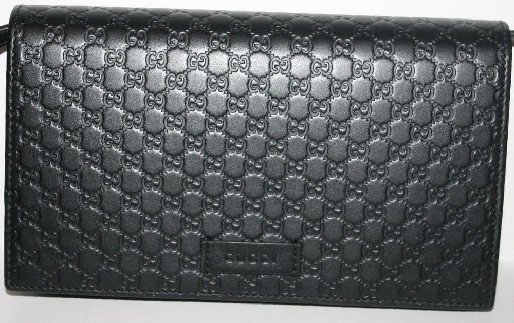 Gucci Women Dark Black Micro Guccissima Embossed Mini Wallet Bag With Strap Wallet Bag Mini Wallet Gucci Black