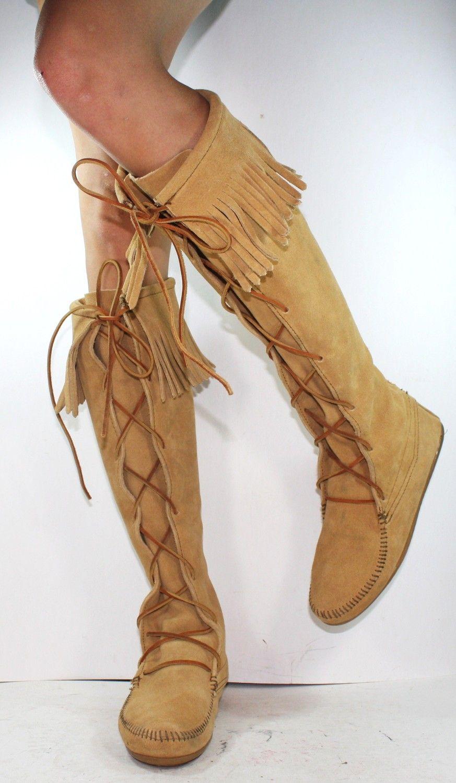 Minnetonka suede leather knee high tall lace up moccasin fringe boots - Vintage Indian Southwest Knee High Tall New Minnetonka Tassel Leather Moccasins Fringe Blond Light Brwon 6
