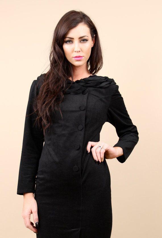 1950s- 60s Avant Garde Little Black Cocktail Dress / Cowl Neck Faux SUEDE Velvet Mod Minimal / Sz  XS- Small