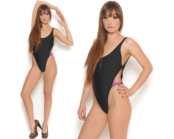 05efcadef 80s French Cut Swimsuit Black High Cut Bathing Suit Sexy Cut Out Bow ...