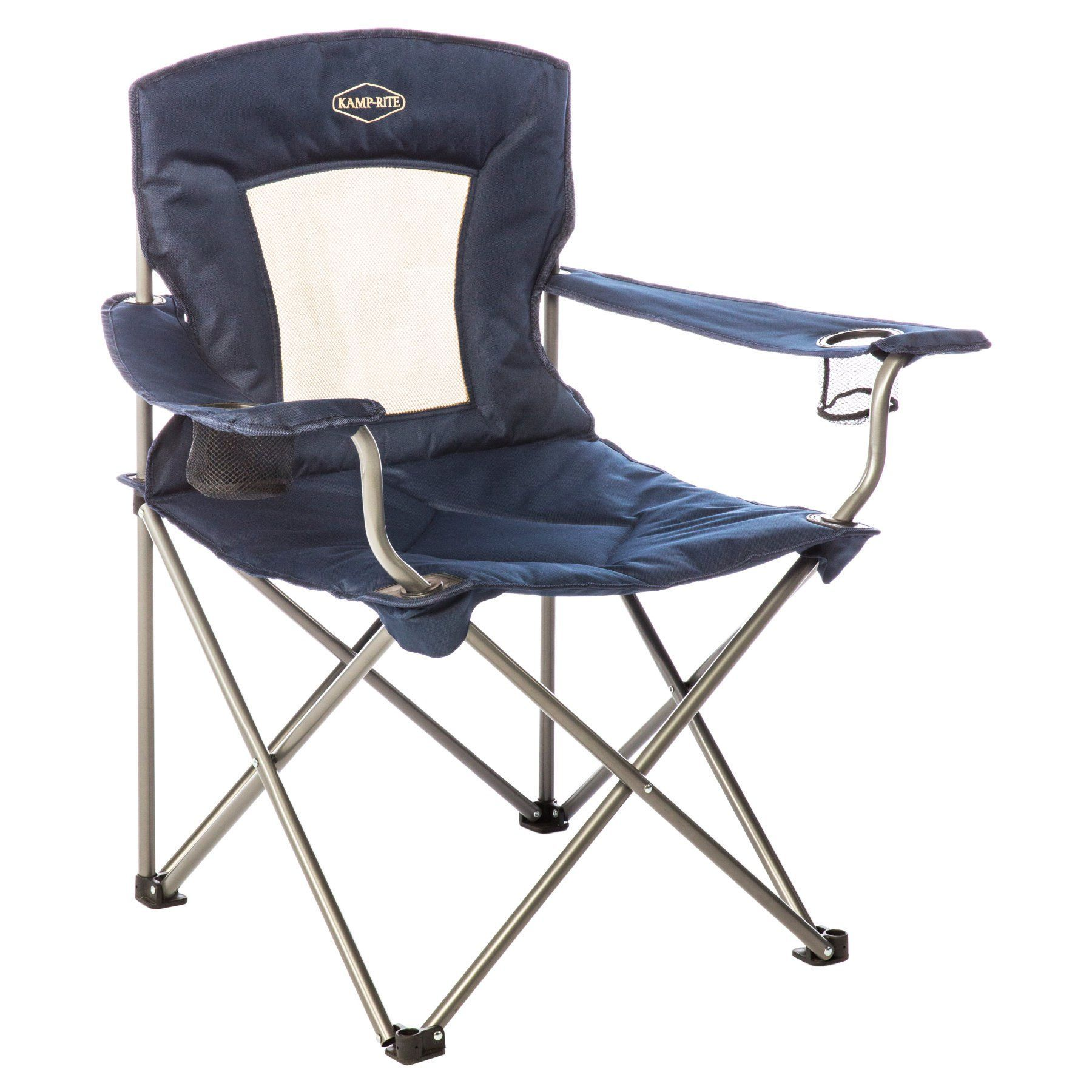 Outstanding Outdoor Kamp Rite Padded Folding Lawn Chair With Mesh Back Cjindustries Chair Design For Home Cjindustriesco