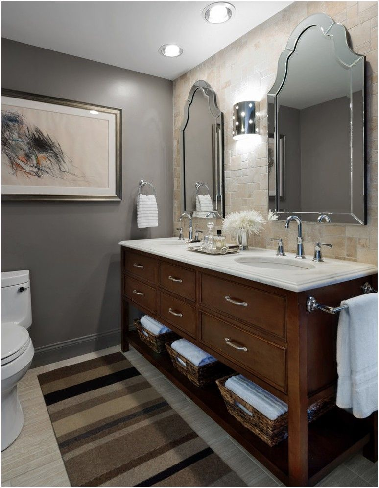 Bathroom Transitional Chicago Area Rug Beige Floor Tile Framed Artwork Gray Walls Open Shelf Recessed Beige Tile Bathroom Beige Tile Floor Bathroom Wall Colors