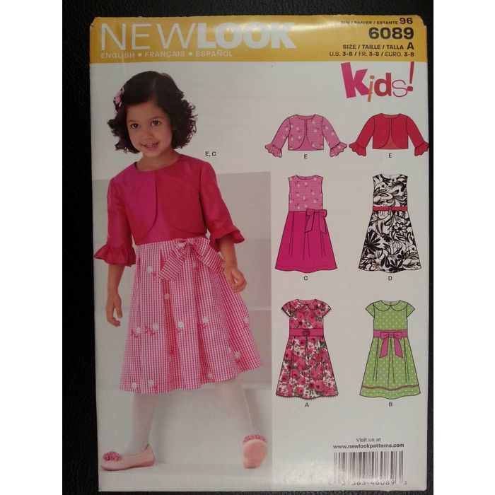 New Look 6089 Girls Dress 4 Styles,Bolero sewing pattern sizes 3-4-5 ...