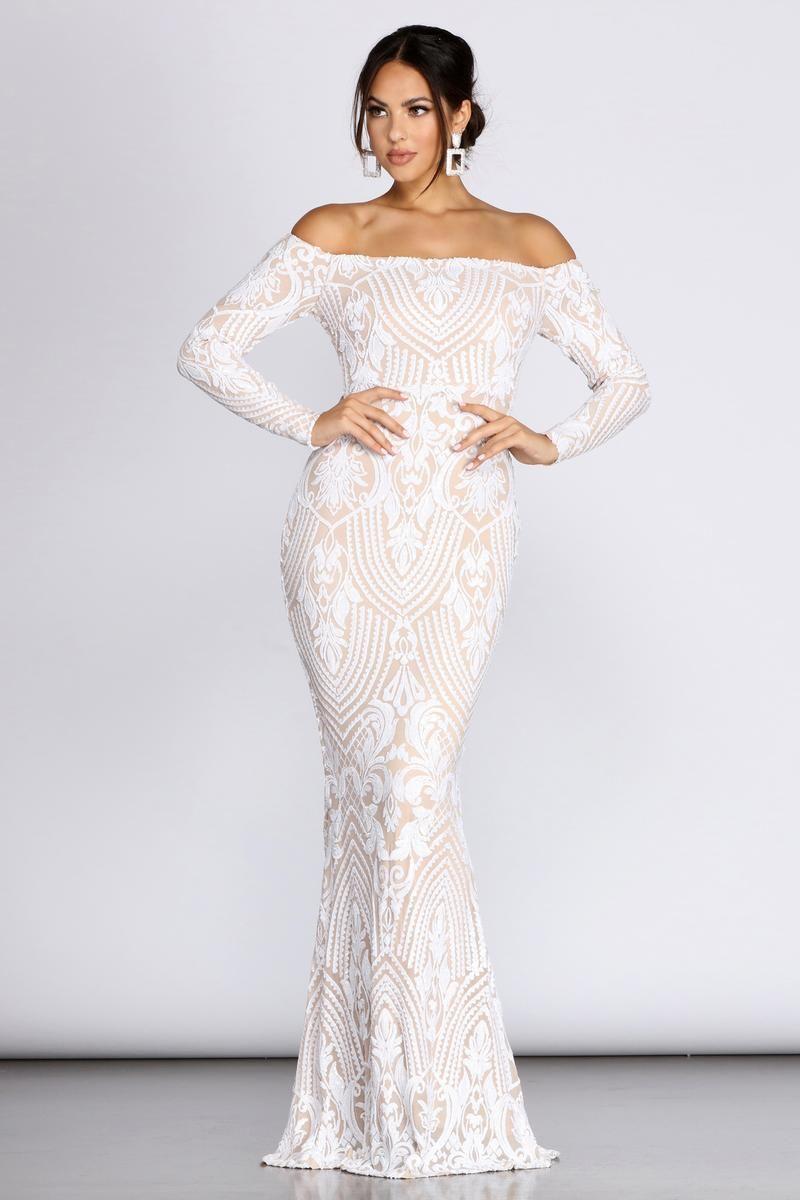 Sierra Sequin Off The Shoulder Formal Dress In 2021 Long Sleeve Dress Formal Wedding Dresses Summer Wedding Dress [ 1200 x 800 Pixel ]