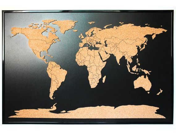 Image result for how to make pins on the map home interior world map push pin corkboard with countries outlined cork sales map with frame world cork map gumiabroncs Image collections