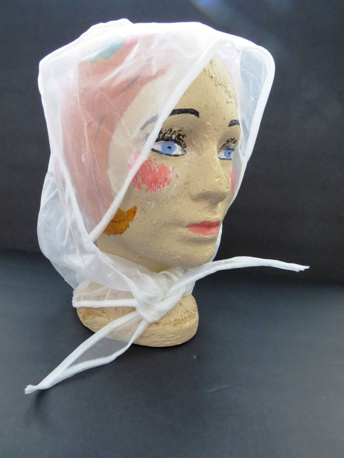 Retro Plastic Rain Hat with Visor - Mod Clear Rain Bonnet - Cover Up ...