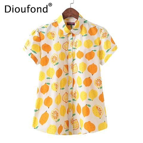 e6b72b21e7e54e Dioufond 2018 Summer Cotton Lemon Print Short Sleeve Blouse Shirt White  Women Loose Hawaiian Fashion Tops Big Size S-5XL