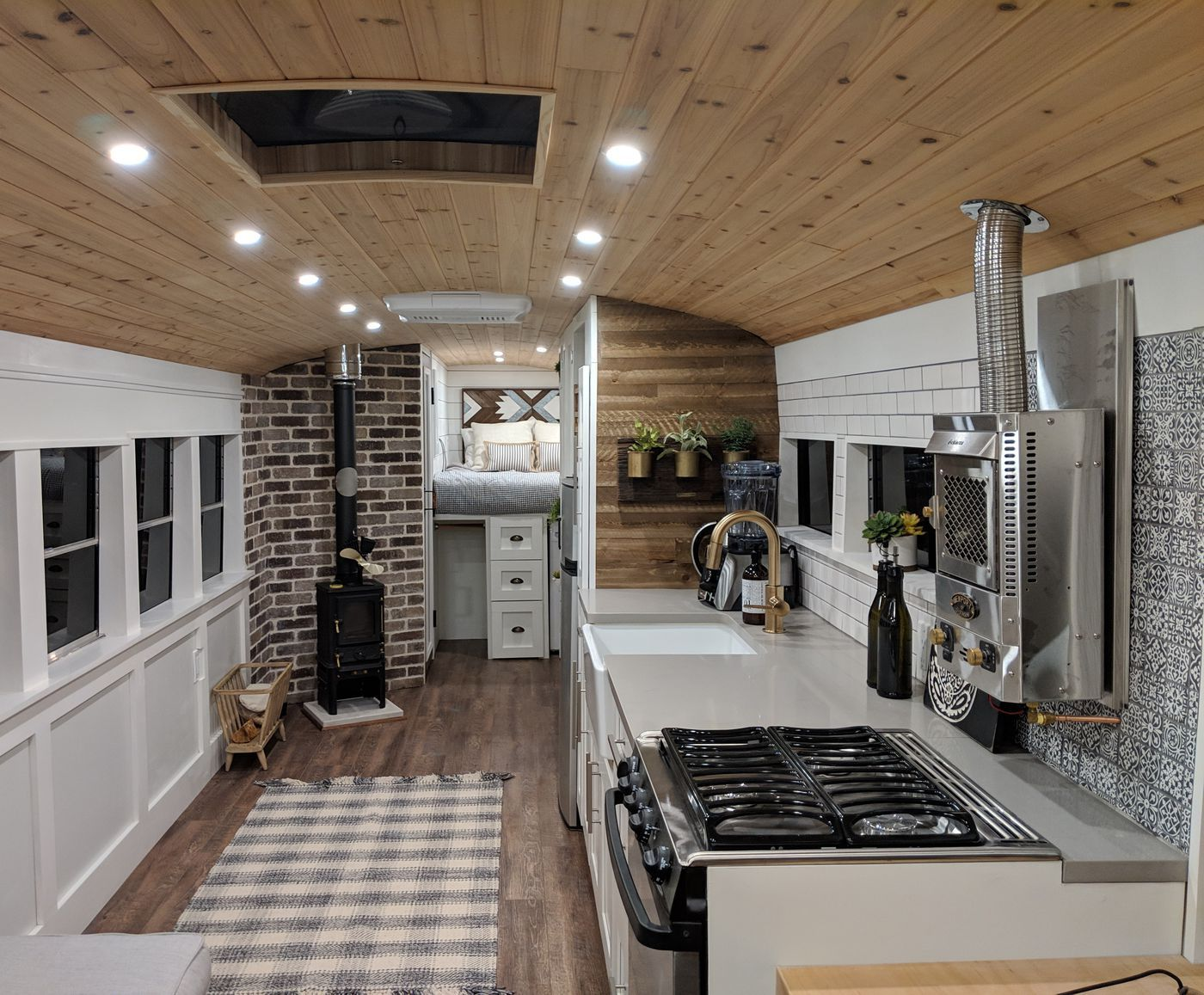 Converted School Bus Is A Cozy Tiny Home On Wheels