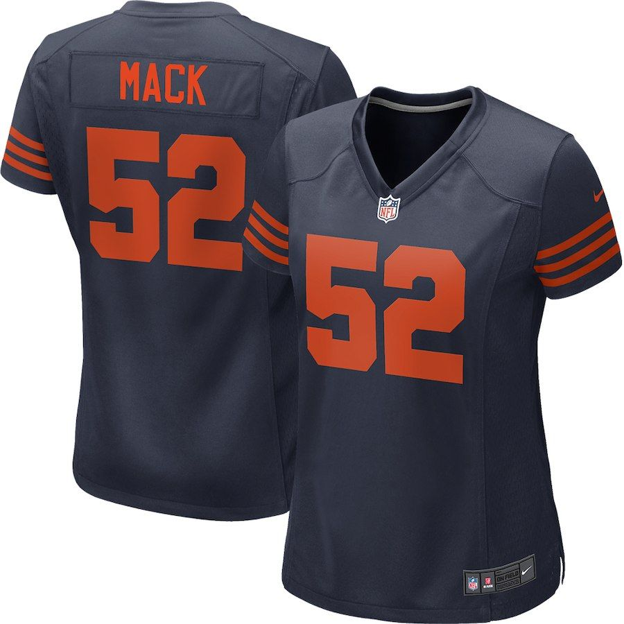 innovative design d18eb c0b08 Women's Nike Khalil Mack Navy Chicago Bears Throwback Game ...