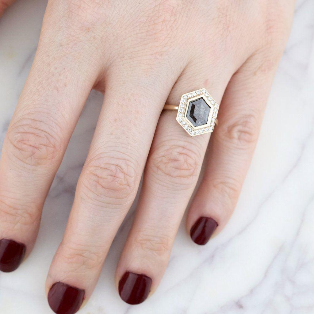 1.81 Carat Hexagon Diamond Bezel Halo Engagement Ring, 14k Yellow ...