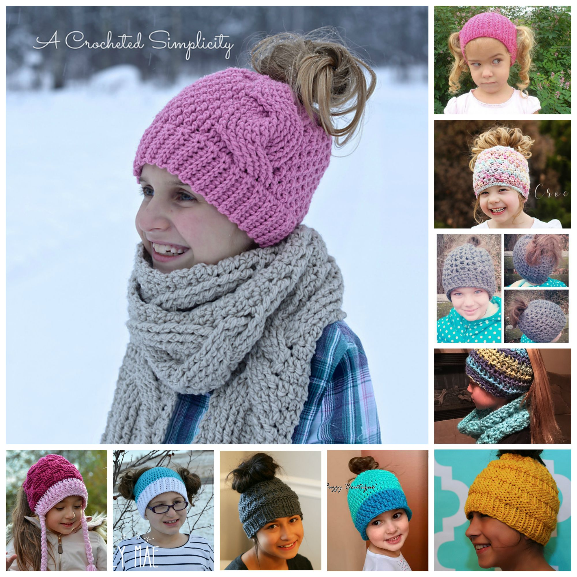The Best Ponytail Hat Patterns (aka Messy Bun Beanies) for Little Girls! #kni...