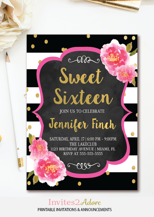 Black and white stripe sweet sixteen birthday invitation for Sweet sixteen program template