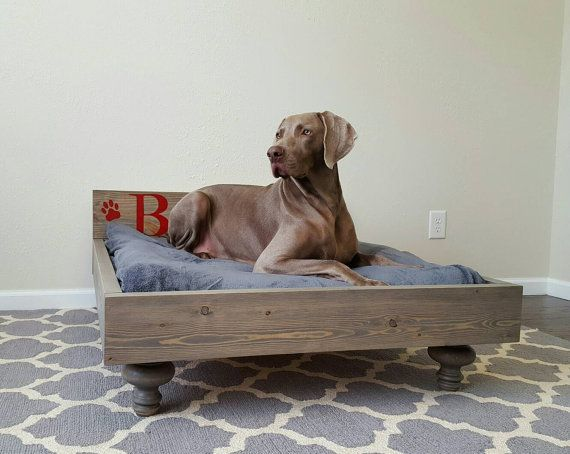 Large Dog Bed Jumbo Dog Bed Cat Bed Pet Bed With Hand Painted Personalized Headboard Dog Bed Large Wood Dog Bed Elevated Dog Bed