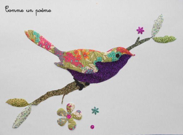 Grand appliqué thermocollant L'oiseau sur la branche liberty multicolre : Autres pièces pour créations par comme-un-poeme