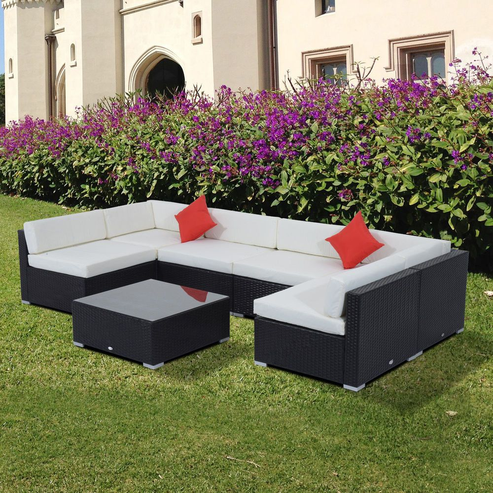 Outsunny 7PC Outdoor Rattan Wicker Sofa Couch Sectional Garden Patio Furniture #Outsunny