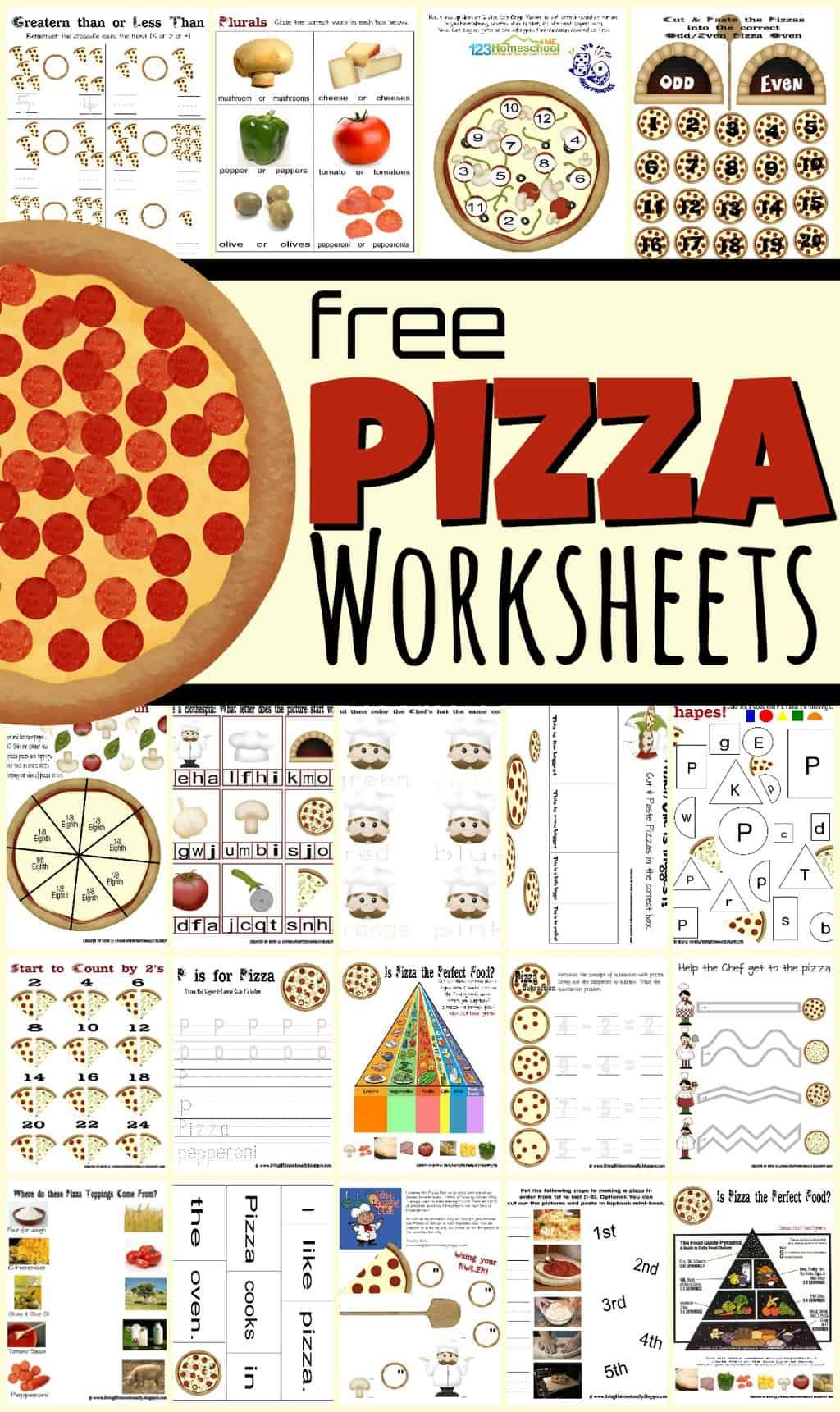 Free Pizza Worksheets For Kids In 2021 Free Preschool Printables Worksheets For Kids Kids Worksheets Printables [ 1721 x 1024 Pixel ]