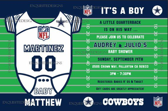 Dallas Cowboys Baby Shower Invitation In 2019 Products Cowboy