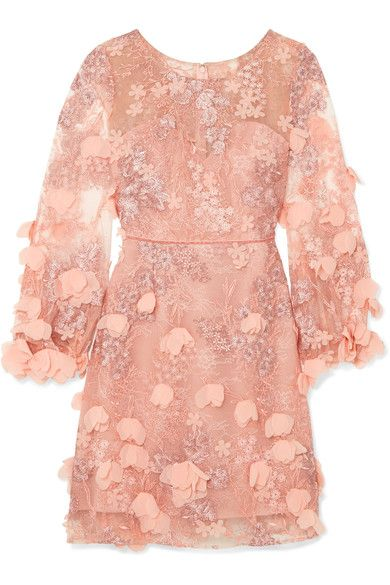 Embellished Tulle And Lace Dress - Baby pink Marchesa Clearance Prices Discount Big Discount W1LZaO7zS