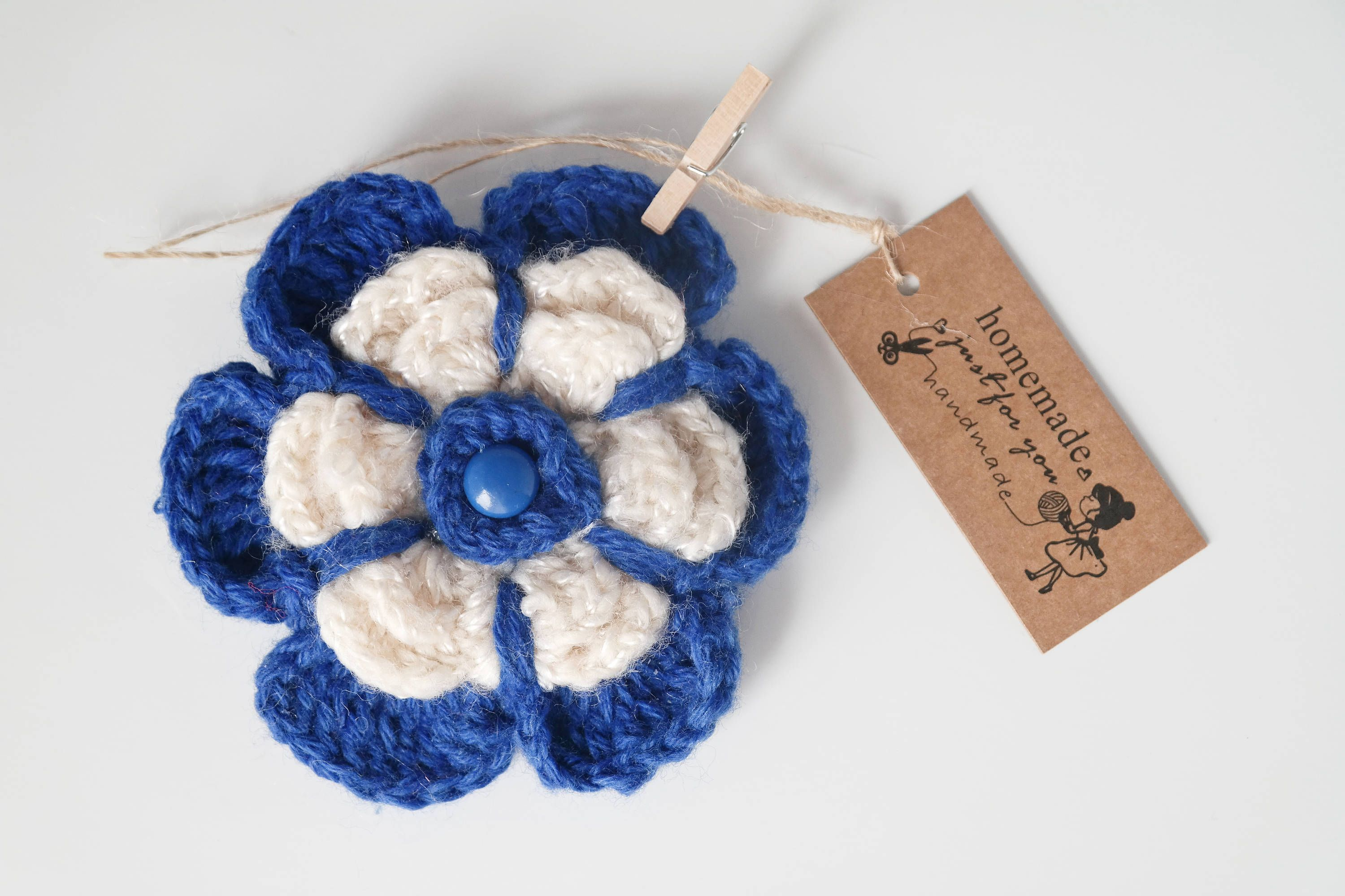 crocheted flower crochet me for gifts corsage pin women brooch forget not