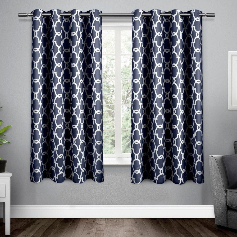 inch peacoat blue white moroccan curtains panel pair set