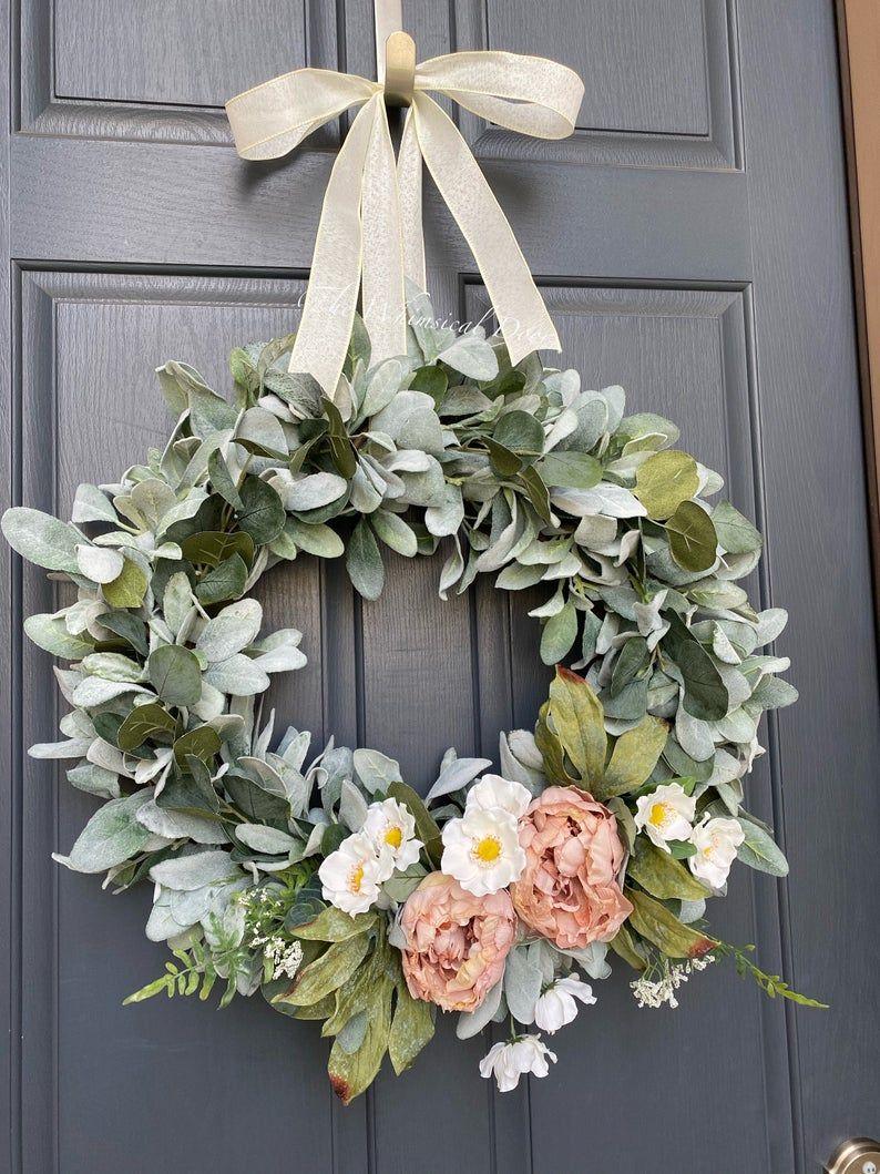 Photo of Lambs ear eucalyptus wreath wreaths for front door front door wreath wreath for front door anemone wreath peony wreath