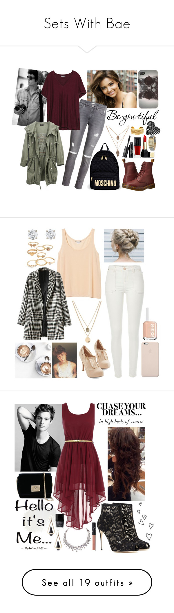 """""""Sets With Bae"""" by charlotte-sk ❤ liked on Polyvore featuring Schone, Kerr®, H&M, Zara, Dr. Martens, Rivka Friedman, Moschino, Guerlain, With Love From CA and Isaac Mizrahi"""