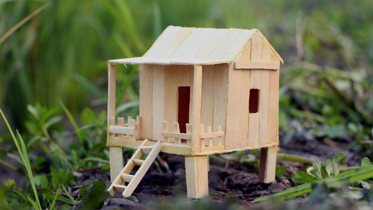 How to make a Popsicle stick house - HAMSTER DIY Mini House