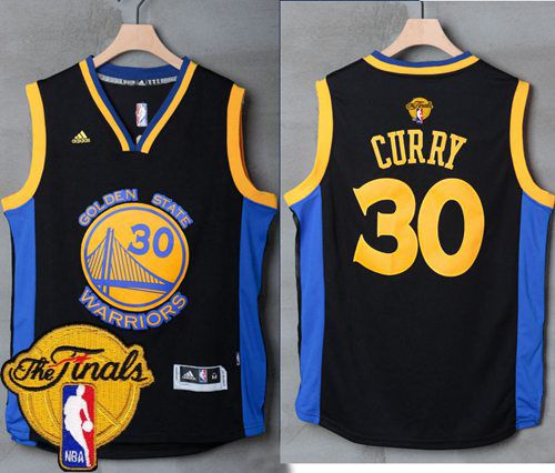 0e36508ab Warriors  30 Stephen Curry Black Blue The Finals Patch Stitched NBA Jersey