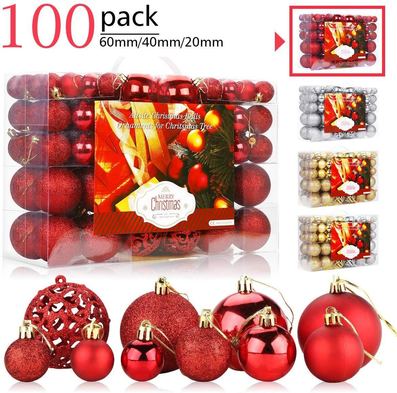 Aitsite 100 Pack Christmas Tree Ornaments Set Mini Shatterproof Holiday Ornaments Balls For Christma In 2020 Ornament Set Christmas Tree Ornaments Holiday Ornaments