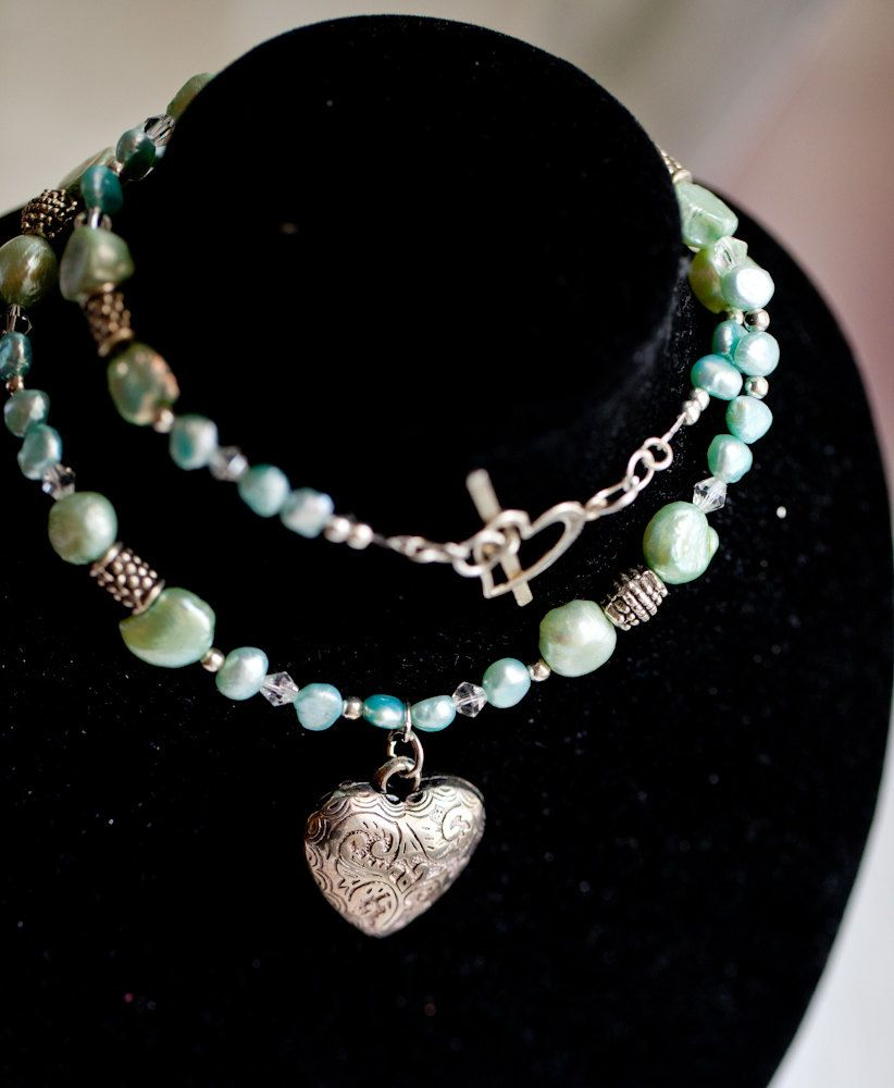 Mint green & light blue Freshwater Pearl Necklace