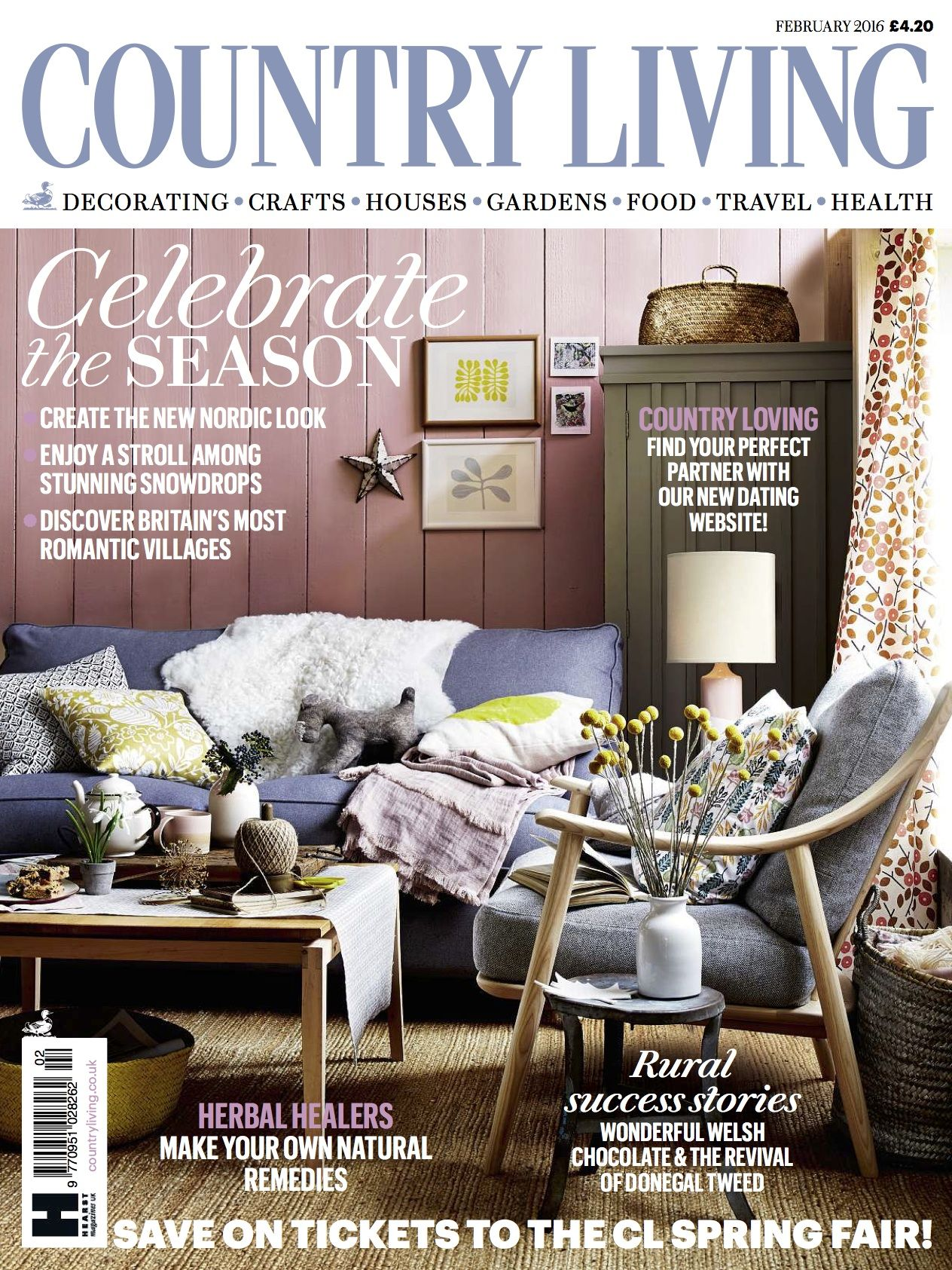 Country Living Magazine UK February 2016 cover Country